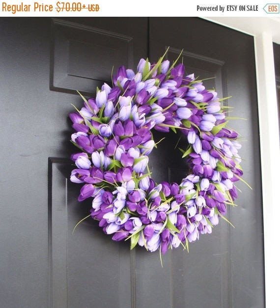 SPRING WREATH SALE Lavender Spring Wreath- Wreath for Spring- Mother's Day Wreath- Spring Decor- Lavender Wreath- Easter Wreath