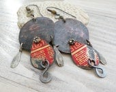 CUSTOM ORDER for Linda - Large Rustic Assemblage Earrings, Lightweight Chandelier Earrings, China Red, Mixed Metal, Recycled Tin