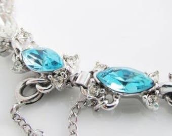 Blue Rhinestone Bracelet, Aquamarina Silver Rhinestone Bracelet, Vintage Bogoff Bracelet, March Birthstone Bracelet, Wedding Jewelry