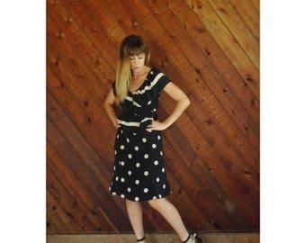extra 30% off sale . . . Silk Polka Dot Midi Calf Dress - Vtg 80s 90s - S/M