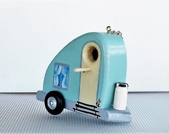 Decorative Aqua Tear Drop Trailer Birdhouse , Handcrafted and Hand Painted