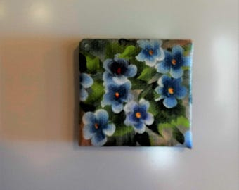 Hand Painted Blue Flower  Magnet , Decoration for Your Refrigerator , Kitchen or Office