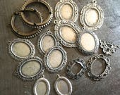 Large Lot Vintage Silvertone Bezels and Settings 35mm 18x25mm 18x13mm