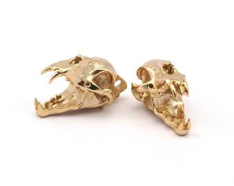 Tiny Tiger Skull, 1 Gold Plated Brass Tiger Skull Pendant (22x13x13mm) N482 Q160
