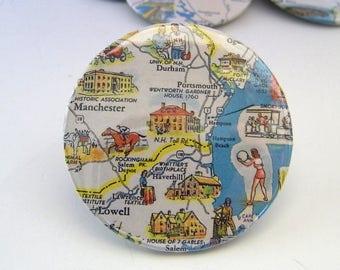Vintage Travel Map Pin - Badge - Portsmouth NH Haverhill, Lawrence, Salem, Durham, Manchester, Hampton Beach