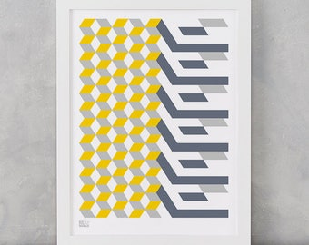 Geometric Print, Cube Grey and Yellow, Geometric Shape Screen Print, Wall Art, Home Decor