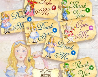 ALICE PARTY TAGS, Alice in Wonderland party supplies, paper tags or labels, printable paper party tags, open me, eat me party supplies