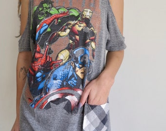 Marvel Comics Comic Book Off The Shoulder Cut Out Peep Shoulder Upcycled Oversized Tshirt Top Shirt Tee Womens Geek Comicon