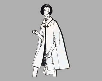 1970 Cape sewing pattern Mail Order 8171 Size 11 Bust 33 1/2 inches, Lined cape, 6 piece A line cape, Knee length cape, Princess seam cape