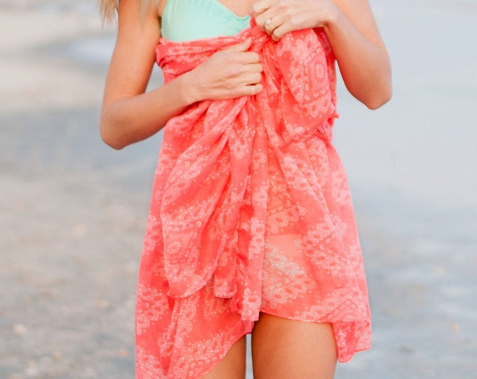 Coral coverup sarong pareo swimuit coverup bikini scarf beach vacation bridesmaids gift beach lover Beach wedding wrap BeachHouseDreams OBX