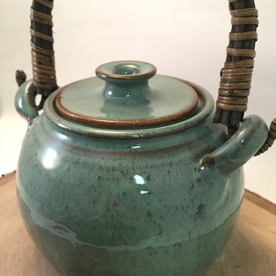 Handmade Ceramic Lidded Jar or Canister with Japanese Cane handle- Celadon Green / Brown