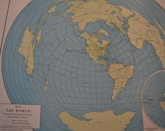 1947 Map World - Vintage Antique Map Great for Framing