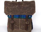 Tall Boy Waxed Canvas Backpack w/ Padded Straps / Evergreen Plaid Recycled Wool