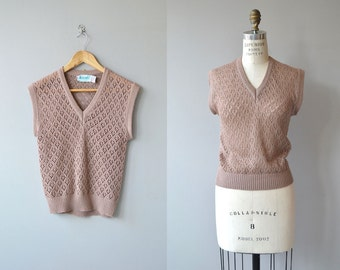 Heather Pointelle knit vest | vintage 1970s sweater vest | pointelle sweater