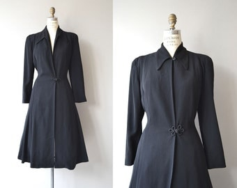 Drayton wool coat | vintage 1950s princess coat | black wool 50s coat