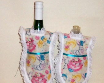 Easter Bunny, Dish Soap Apron, Handmade,  Wine Bottle, Detergent Covers, Kitchen Décor, Eyelet Lace