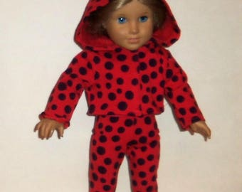 Pants Outfit, Hooded Sweatshirt,  Matching Leggings, 18 Inch Doll, Cotton T Shirt, Red Polka Dots,  American Made, Girl Doll Clothes