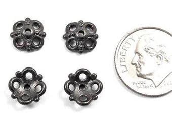 TierraCast Pewter Bead Caps-BLACK CLOVER 9mm (4)