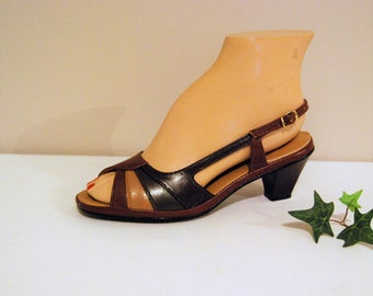 Vintage Sandals  Earthtone Slingbacks