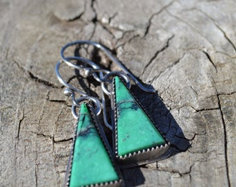 Turquoise Triangle Earrings Hand Fabricated Sterling Silver Vintage Cut Hubai Turquoise