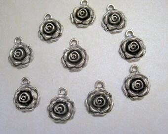 Tibetan Silver Rose Charm - Set of 14 - 17x14mm