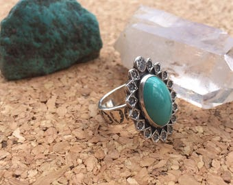 Turquoise sterling silver oval statement ring