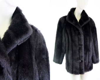 Signatures by Style VI Ltd. Made in USA Chocolate Brown Faux Fur Woman's Vintage Coat
