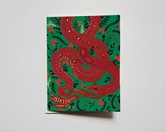 Greeting Card- Happy Birthday - Red Snake