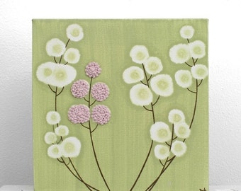 ON SALE Pink and Green Nursery Art - Textured Flower Wall Art - Original Painting on Canvas - Small 10x10
