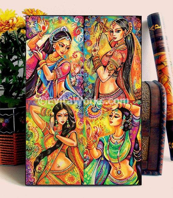 beautiful Indian woman painting feminine beauty bollywood dance Indian dancer, home decor wall decor woman art 4x set, woodblock, ABDG