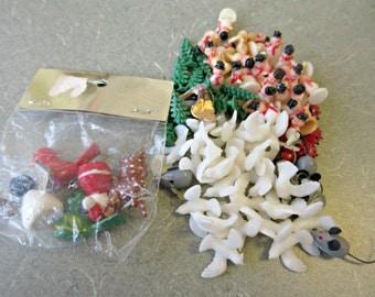 Vintage Figurines, TINY Plastic Figures, Miniature Snowmen, Plastic Trees, Tiny Mice, Plastic Ladybugs, Vintage Craft Supply, Terrarium Item