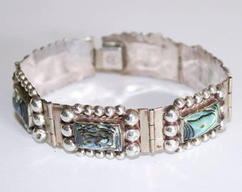 925 Sterling Silver Abalone Shell Bracelet Made in Mexico