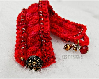 Red Knitted Bracelet Kit by KIS Designs