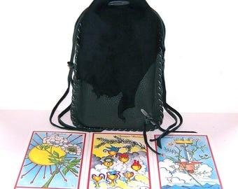 GREEN Drawstring Tarot Bag...Leather Drawstring Medicine Bag..Runes Bag