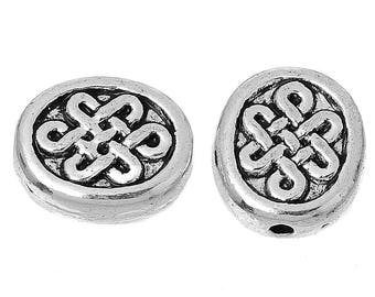 Oval Spacer - Chinese Knot - Antique Silver - Set of 12 - #HK1363