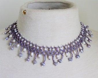 Beadwork Necklace Purple Hand Beaded statement v