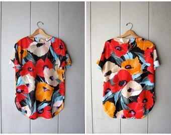 Vintage 70s Floral Top Flower Print Red Yellow Slub Shirt Sheer Tunic Top Hippie Boho Flutter Sleeves Shirt DELLS Womens Medium