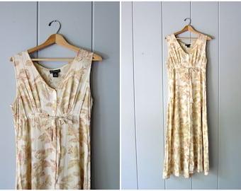 90s Pale Pink Floral Dress Long Summer Slip Dress Shell Buttons Up the Front Flower Print Sundress Thin Rayon Casual Sun Dress Womens Medium