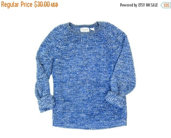 Oversize Waffle Knit Sweater Top Blue White Marled Oversized 80s 90s Boyfriend Pullover Slouchy Loose Knit Retro Sweater Mens Medium Large
