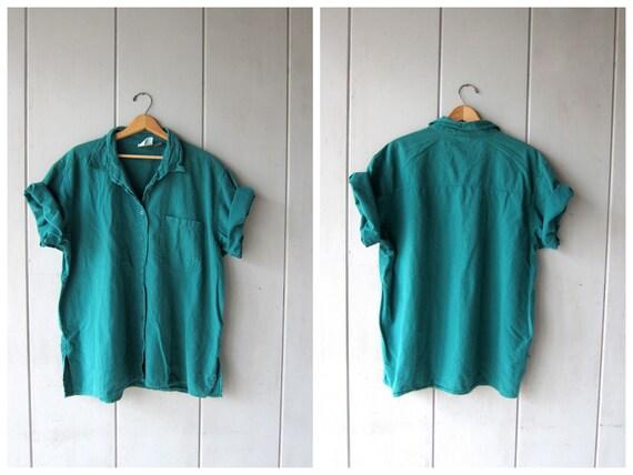 Oversized 90s Teal Blouse Soft Cotton Button Down Collared Shirt Minimal Slouchy Boyfriend Shirt Boho Beach Tshirt DES Womens 2XL