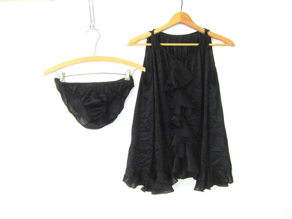 Sexy Black Vintage Lingerie Two Piece Lace Negligee 80s Ruffled Teddy Playsuit Slip Nightie Bodysuit with Panties Teddie Women's Size Medium
