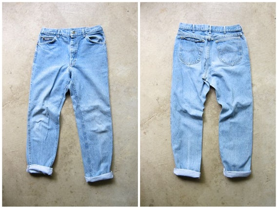 "LEE 80s High Waist Blue Jeans Loose Fit Denim Straight Boot Leg Boyfriend Mom Jeans Vintage Mechanics Hipster Grunge Womens 32"" Waist"
