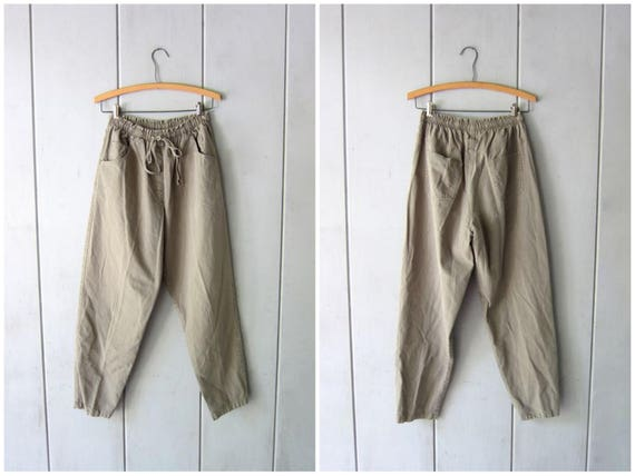 Army Green Drawstring Pants 90s Elastic Waist Thin Cotton Pants Minimal MOM Trousers Pockets Vintage Casual Summer Pants Womens Medium