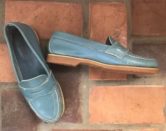 1980s Vintage LL Bean Blue Leather Shoes Loafers  6