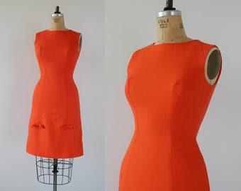 vintage 1960s dress / 60s anne forgarty dress / 60s orange sherbet bows dress / designer wiggle dress / sleeveless bombshell / size small