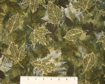 Thanksgiving Fabric - Harvest Gold Leaves on Green - Timeless Treasures YARD