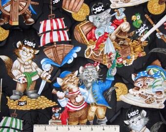 Pawrate's Cove Fabric - Cat Pirate & Treasure on Black - Hoffman YARD