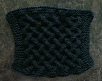 Hand Knit Black Dishcloth - measures approximately 7x71/2 inches