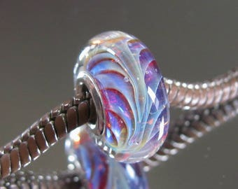 """Tangled Sky Glass """"Jazz"""" #1 Fully Sterling Silver Lined Lampwork Charm Bead BHB"""