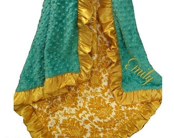 Photoprop CLEARANCE Teal and Gold Damask Minky Swaddle Baby Blanket, Mustard Yellow Minky Blanket
